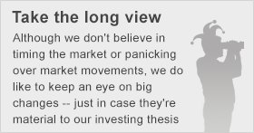 Although we don't believe in timing the market or panicking over market movements, we do like to keep an eye on big changes - just in case they're material to our investing thesis.