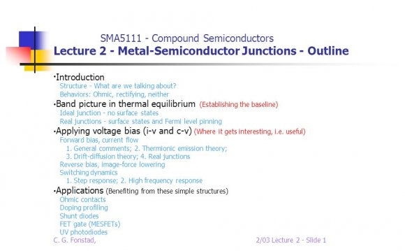 Metal-Semiconductor Junctions